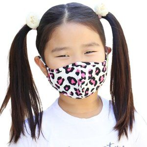NEW Pink Leopard Print Children Kids Face Mask